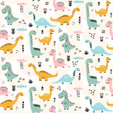 Fototapeta Dinusie - Cute dinosaur pattern - hand drawn childish dinosaur seamless pattern design