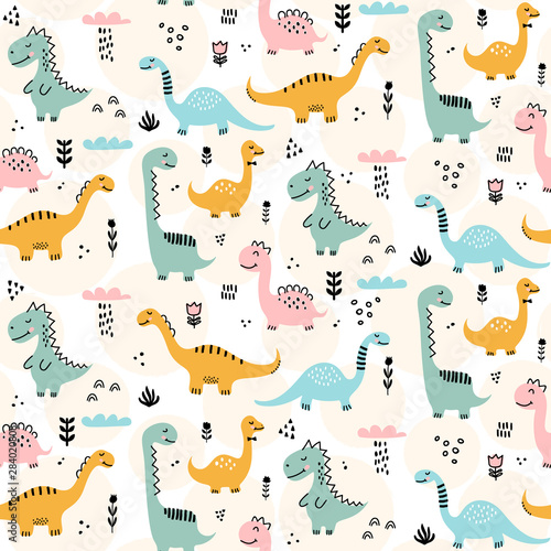 Cute dinosaur pattern - hand drawn childish dinosaur seamless pattern design Canvas Print