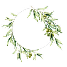 Watercolor Wreath With Green Olive Berries And Leaves. Hand Painted Floral Circle Border With Olive Fruit And Tree Branches With Leaves Isolated On White Background. For Design, Print And Fabric.