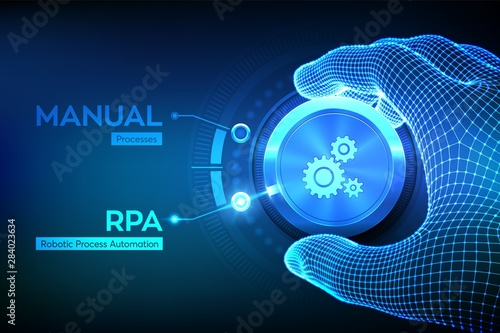 Photo RPA Robotic process automation innovation technology concept