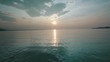 Sunrise about lake Baikal in the summer from drone
