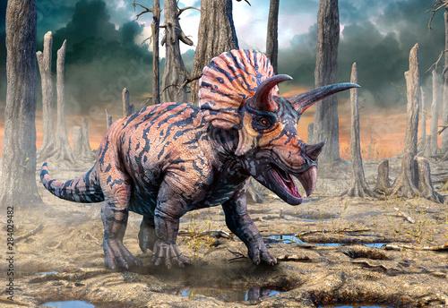 Naklejki dinozaury  triceratops-from-the-cretaceous-era-scene-3d-illustration
