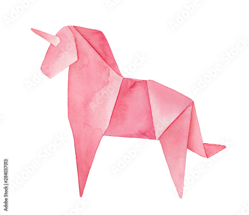 Fototapeta  Watercolour illustration of pink Origami Unicorn