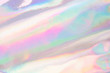 canvas print picture - Holographic iridescent color wrinkled fabric. Abstract texture with multiple colors.