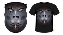 Gorilla, Orc Face Print Shirt