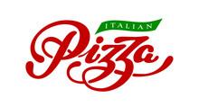 Pizza Elegant Hand Written Vector Lettering Isolated On White Background