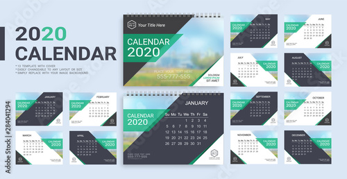 Photo  Desk Calendar 2020 template, 12 months and 13 template with cover included in A5 but easily to changeable to any layout or size and simply replace with your image background