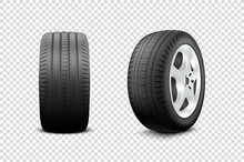 Vector 3d Realistic Render Car Wheel Icon Closeup Isolated On Transparent Background. Design Template Of New Tires With Alloy Rims Front And Side View