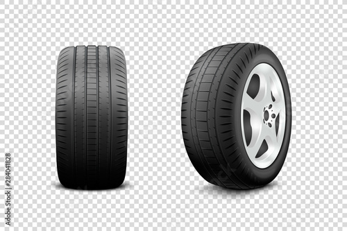 Vector 3d Realistic Render Car Wheel Icon Closeup Isolated on Transparent Background Canvas Print