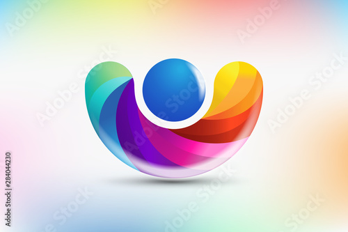 Rainbow figure people colorful logo vector image