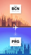From Barcelona to Prague flight travel ad concept.