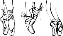 Vector Illustration Of Ballerina Feet En Pointe