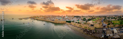 Aerial summer sunset view of Acco, Acre, Akko medieval old city with green roof Wallpaper Mural