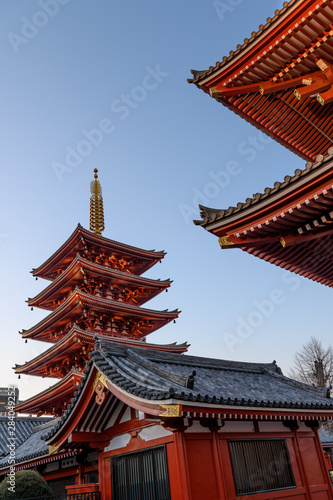 Asakusa illuminated Senso ji temple on sunset