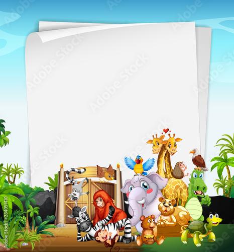 Papiers peints Jeunes enfants Border template design with cute animals at the zoo