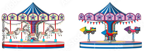Photo sur Aluminium Jeunes enfants Two designs of merry go round on white background
