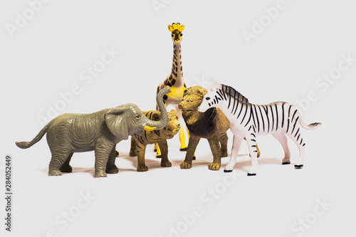Animals toys for babies isolated on white background