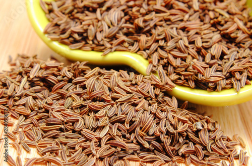 Fototapeta Heap of cumin seeds containing healthy minerals obraz