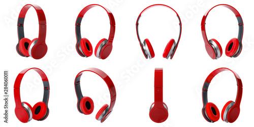 Pinturas sobre lienzo  Set of modern red headphones on white background
