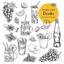 Set Of Drinks Illustrations. Sketch Of Bar Menu, Drinks Menu. Hand Drawn Illustration Of Wine, Drinks, Alcohol, Smoothies, Cocktails