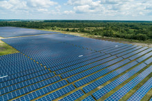 Aerial Top View Of A Solar Pannels Power Plant
