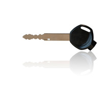 Key Motorbike Or Motorcycle And Have Black Handle A Key Ring. Isolated On A White Background With Clipping Path.