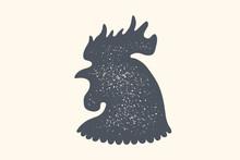 Rooster, Poultry. Vintage Logo...