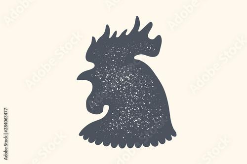 Fotomural Rooster, poultry. Vintage logo, retro print, poster for Butchery