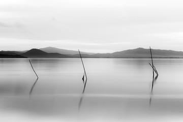 FototapetaSunset at Trasimeno lake (Umbria, Italy), with poles on the foreground