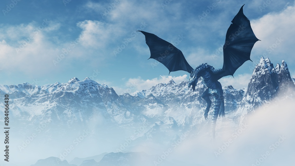 Fototapeta High resolution Ice dragon 3D rendered. Write your text and use it as poster, header, banner or etc.