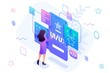 Isometric concept a young woman creates a custom design for a mobile application, Ui UX design. Concept for web design