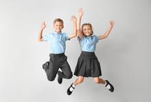 Jumping Little Pupils On Light...