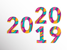 New Year 2020 Greeting Card With Fluid Paper Cut Shapes Background.
