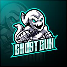 Ghost With Gun Esport Mascot Logo Design