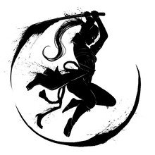 Silhouette Of A Samurai Girl In A Deadly Jump With Sword. 2D Illustration.