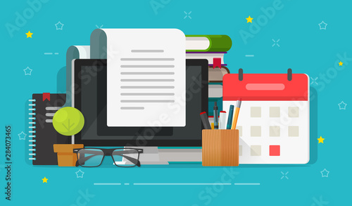 Photo Writing content or essay on computer or reading article vector illustration, fla