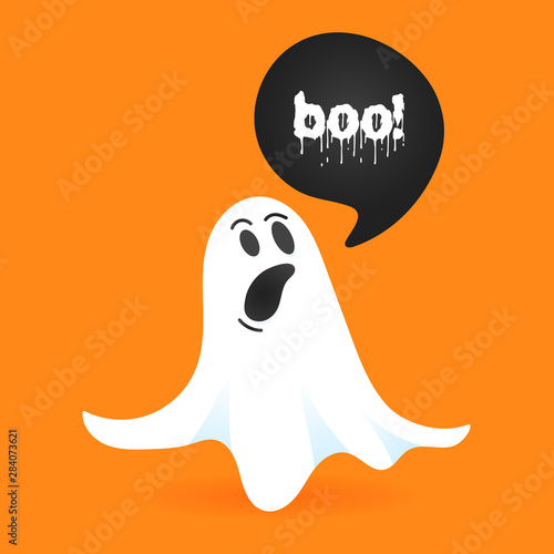 Obraz na plátne Flying halloween funny spooky ghost character say BOO with text space in the spe