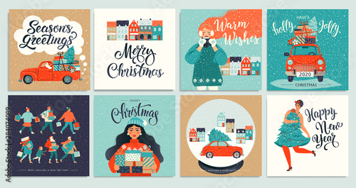 Christmas and New Year's Template Set for Greeting Scrapbooking, Congratulations, Invitations, Tags, Stickers, Postcards. Christmas Posters set. Vector illustration. - 284074089