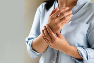 woman wrist arm pain long working. office syndrome healthcare and medicine concept