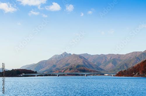 Lake Kawaguchiko Ohashi bridge and moutains in winter - Japan