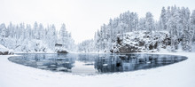Aerial Panorama View Of A River In Myllykoski At Winter In Oulanka National Park, Finland