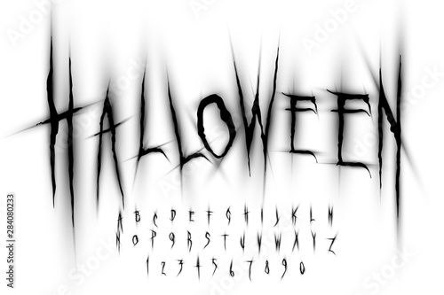 Halloween font, Letters and Numbers, vector eps10 illustration Wallpaper Mural