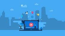 People Streaming Online Video With Their Laptop.online Tutorial Video Streaming Can Use For, Landing Page, Template, Ui, Web, Mobile App, Poster, Banner, Flyer.vector Ilustration