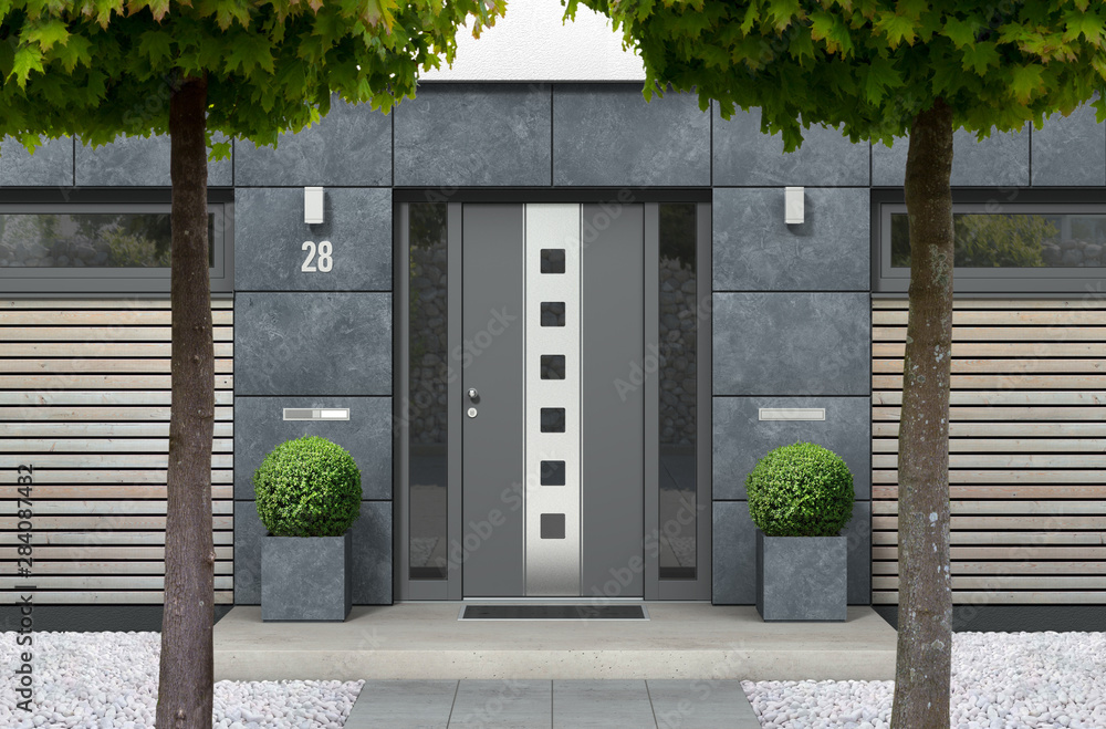 Fototapeta 3D rendering of modern urban real estate bungalow home facade with designer front door, yard with white gravel and trees