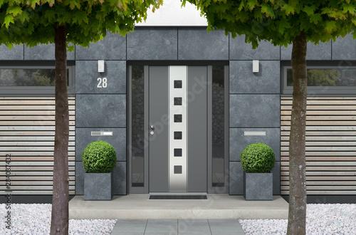 Cuadros en Lienzo  3D rendering of modern urban real estate bungalow home facade with designer fron