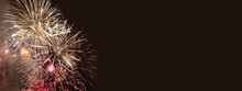 Fireworks On Dark Brown Background For Anniversary, New Year And Festivals