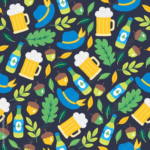 Vászonkép Oktoberfest seamless pattern with beer, bottle, hat, acorn, oak leaves