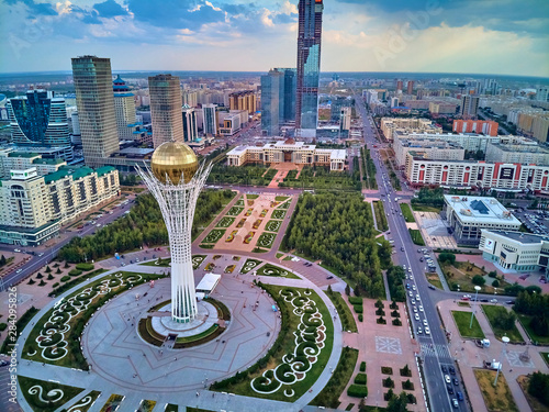 NUR-SULTAN, KAZAKHSTAN (QAZAQSTAN) - July 29, 2019: Beautiful panoramic aerial d Canvas Print