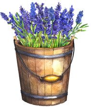 Wooden Bucket With Lavender