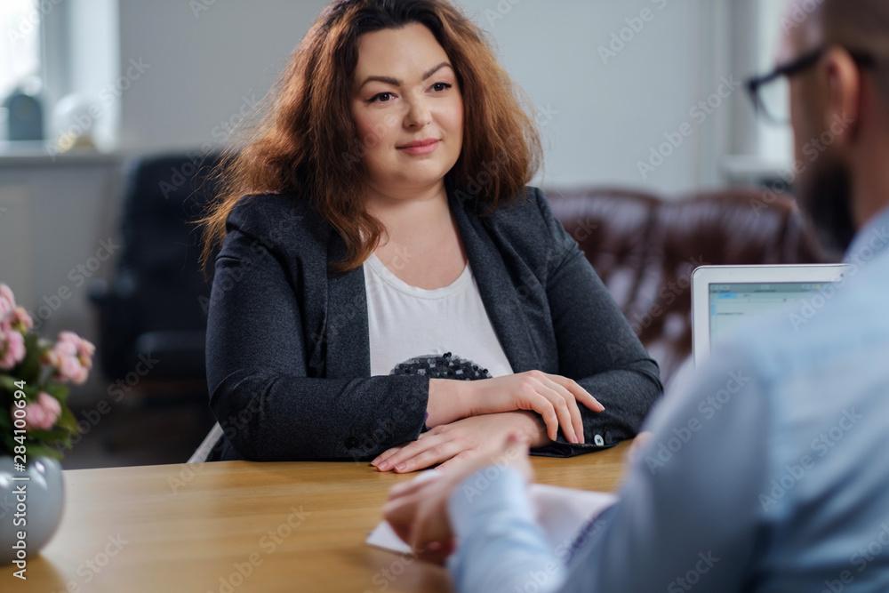 Fototapety, obrazy: Plus size woman attending job interview